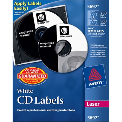 avery cd labels ave5697 removable adhesive circle laser white 2 per