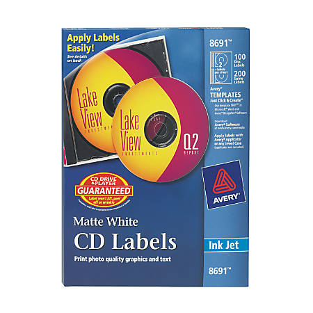 Avery® Permanent CD Labels, 8691, White, Pack Of 100