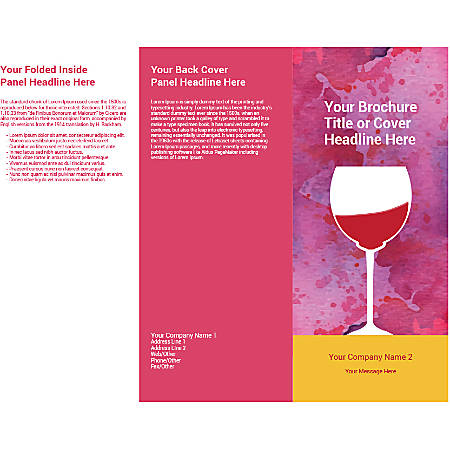 Customizable Trifold Brochure, Wine Glass