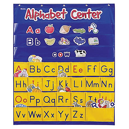 "Learning Resources Alphabet Center Pocket Chart, 34"" x 28"", Blue/Yellow"