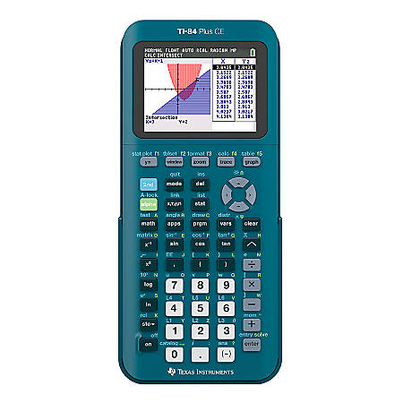 Texas Instruments® TI-84 Plus CE Handheld Graphing Calculator, Teal, 84PLCE/TBL/1L1/AS
