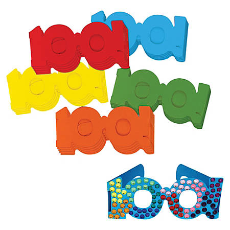 Creativity Street 100th Day Paper Fun Glasses - Fun Theme/Subject - 100th Day of School - Durable - Assorted - Paper - 25 / Set