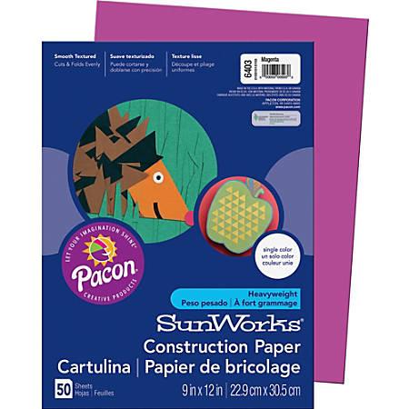 "SunWorks® Groundwood Construction Paper, 9"" x 12"", Magenta, Pack Of 50"