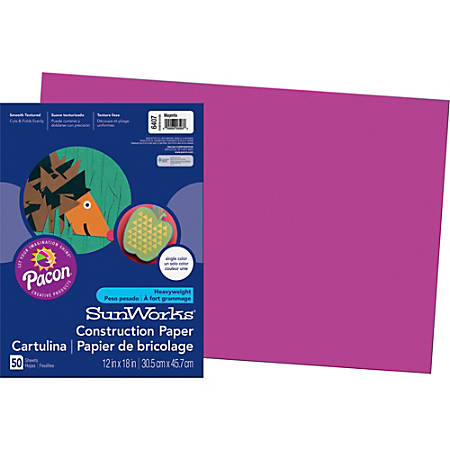 "SunWorks® Groundwood Construction Paper, 12"" x 18"", Magenta, Pack Of 50"