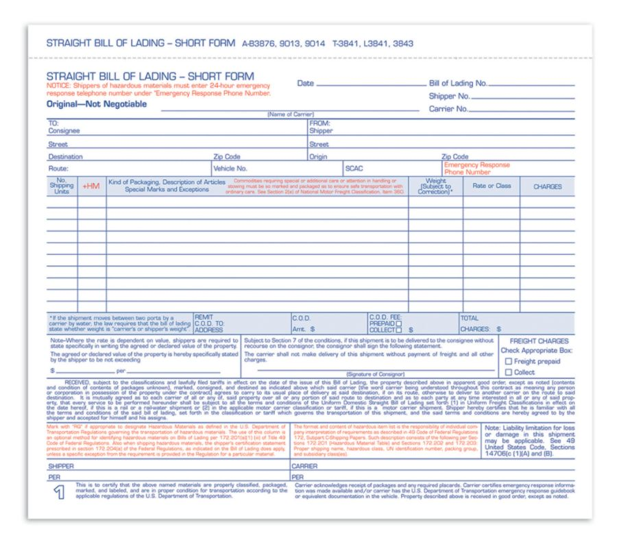 Adams Bill Of Lading Forms 7 58 x 11 3 Part Pack Of 250 by Office ...