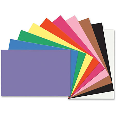 "SunWorks Construction Paper - Multipurpose - 36"" x 24"" - 50 / Pack - Assorted, Blue, Brown, Holiday Green, Orange, Pink, Scarlet, Violet, White, Yellow"