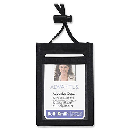 Advantus Vertical IDConvention Neck Pouch Vertical Nylon 12 Pack Black by Office Depot & OfficeMax