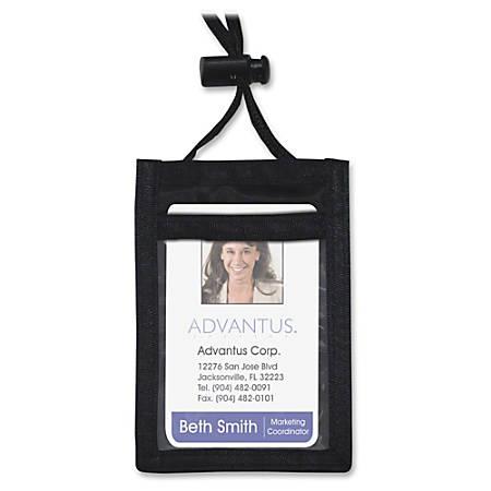 Advantus Vertical ID/Convention Neck Pouch - Vertical - Nylon - 12 / Pack - Black