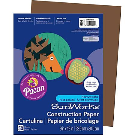 "SunWorks® Groundwood Construction Paper, 9"" x 12"", Dark Brown, Pack Of 50"