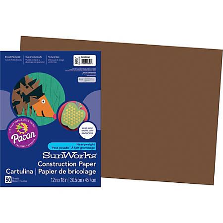 "SunWorks® Groundwood Construction Paper, 12"" x 18"", Dark Brown, Pack Of 50"