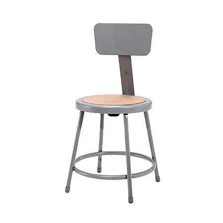 "National Public Seating Hardboard Stools With Backs, 18""H, Gray, Set Of 5"