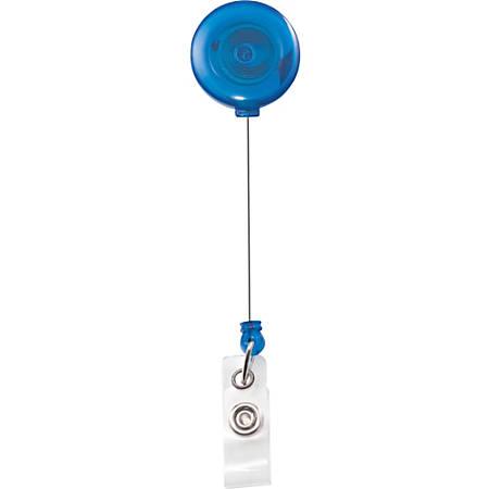 Advantus Translucent Retractable ID Card Reel with Snaps - Vinyl, Nylon, Metal - 12 / Pack - Translucent Blue, Clear