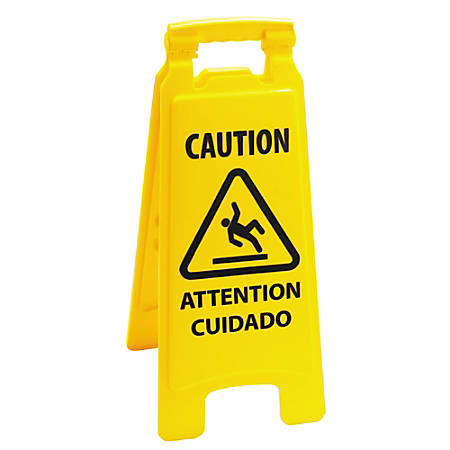 "Boardwalk Caution Safety Sign For Wet Floors, 2-Sided, 26""H x 10""W x 2""D, Yellow"