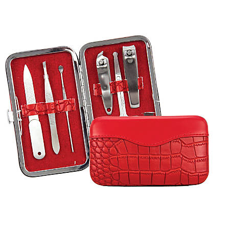 Brownlow 6-Piece Faux Leather Manicure Set, Red