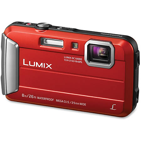 "Panasonic Lumix TS30 16 Megapixel Compact Camera - Red - 2.7"" LCD - 4x Optical Zoom - 4x Digital Zoom - Optical (IS) - 1280 x 720 Video - HD Movie Mode"