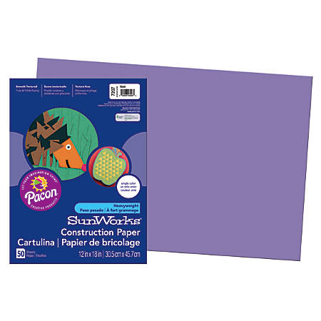 "SunWorks® Construction Paper, 12"" x 18"", Violet, Pack Of 50"