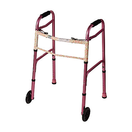 "DMI® Adjustable Aluminum Folding Walkers With 2-Button Release, 38""H x 25""W x 13""D, Pink Floral, Pack Of 2"