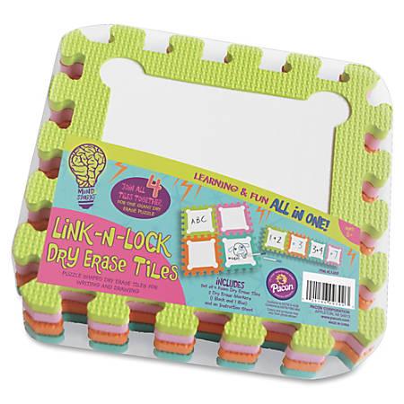 Mind Sparks Link-N-Lock Dry Erase Tiles - Dry-erase - Assorted Foam Surface - No - 4 / Set