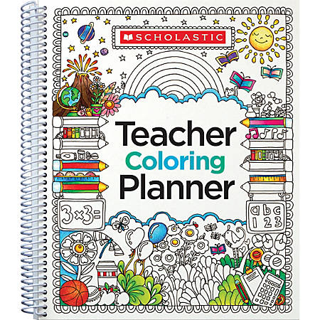 "Scholastic Teacher Coloring Planner, 9"" x 11"""