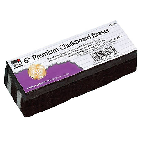 "Charles Leonard, Inc. Premium Chalkboard Erasers, 6"" x 2"", Black, Pack Of 12"