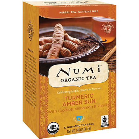 Numi® Turmeric Organic Tea Herbal Tea, 1.5 Oz, Carton Of 12