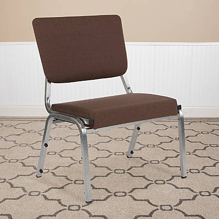 Flash Furniture HERCULES Antimicrobial Fabric Bariatric Medical Reception Chair With 3/4-Panel Back, Brown/Silvervein