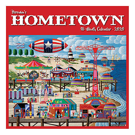 "Willow Creek Press Art & Design Monthly Wall Calendars, 12"" x 12"", Heronim's Hometown, January To December 2020"