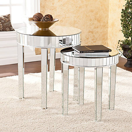 Southern Enterprises Mirrored Nesting Tables, Round, Silver, Set Of 2