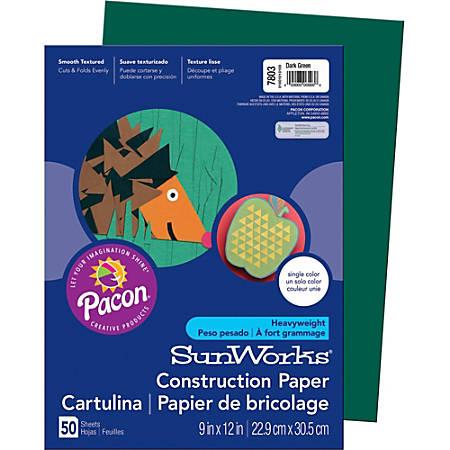 "SunWorks® Groundwood Construction Paper, 9"" x 12"", Dark Green, Pack Of 50"
