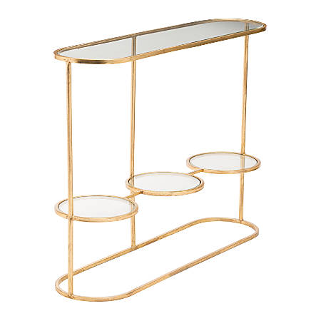 Zuo Modern Aron Console Table, Rectangular, Clear/Gold