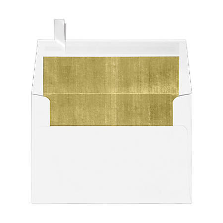 """LUX Foil-Lined Invitation Envelopes With Peel & Press Closure, A4, 4 1/4"""" x 6 1/4"""", White/Gold, Pack Of 250"""