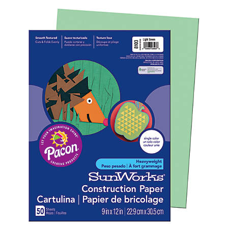 "SunWorks® Construction Paper, 9"" x 12"", Light Green, Pack Of 50"