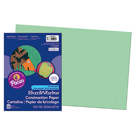 "SunWorks® Construction Paper, 12"" x 18"", Light Green, Pack Of 50"