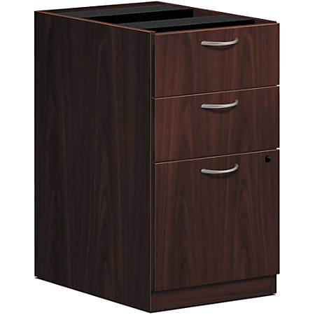 "HON® Foundation Pedestal File, 3 Drawers, 15 5/8""W, Mahogany"