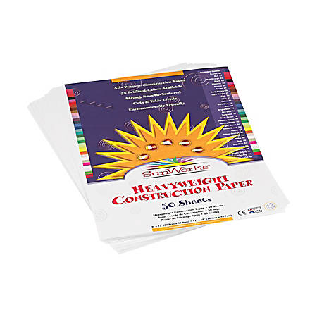 "Pacon® SunWorks® Construction Paper, 9"" x 12"", Bright White, Pack Of 50 Sheets"