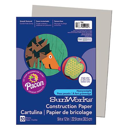 "SunWorks® Construction Paper, 9"" x 12"", Gray, Pack Of 50"