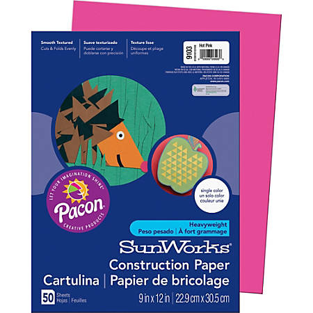 "Pacon® SunWorks® Multipurpose Construction Paper, 12"" x 9"", Hot Pink, Pack Of 50 Sheets"