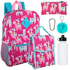 6 In 1 Backpack Set Llamas