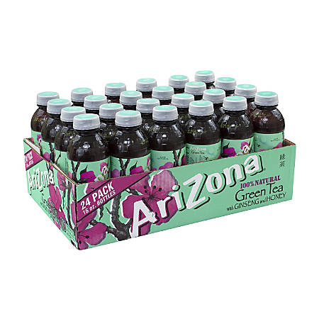 AriZona Green Tea With Ginseng And Honey, 16 Oz, Pack Of 24