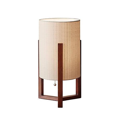 "Adesso® Quinn Table Lamp, 17""H, Light Brown Shade/Walnut Birch Base"
