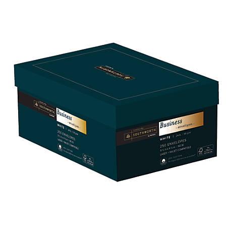 "Southworth® FSC Certified 25% Cotton Wove Finish Business Envelopes, #10, 4 1/8"" x 9 1/2"", 24 Lb, White, Box Of 250"