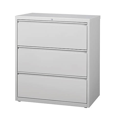 "WorkPro® 36""W 3-Drawer Steel Lateral File Cabinet, Light Gray"