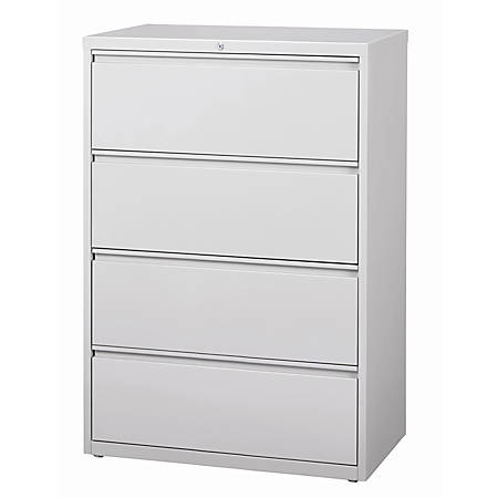 "WorkPro® 36""W 4-Drawer Letter-/Legal-Size Metal Lateral File Cabinet, Light Gray"