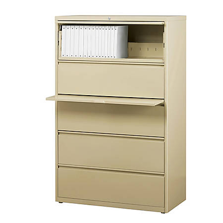 """WorkPro® 36""""W 5-Drawer Steel Lateral File Cabinet, Putty"""