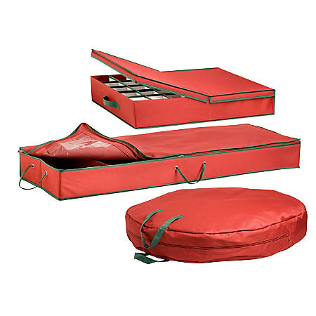 Honey-Can-Do 3-Piece Holiday Storage Set, Red