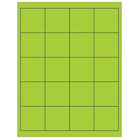 "Office Depot® Brand Labels, LL172GN, Rectangle, 2"" x 2"", Fluorescent Green, Case Of 2,000"