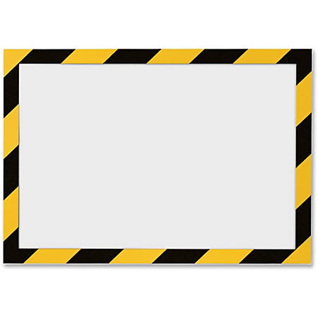 """DURABLE® DURAFRAME® SECURITY Self-Adhesive Magnetic Letter Sign Holder - Holds Letter-Size 8-1/2"""" x 11"""", Yellow/Black, 2 Pack"""