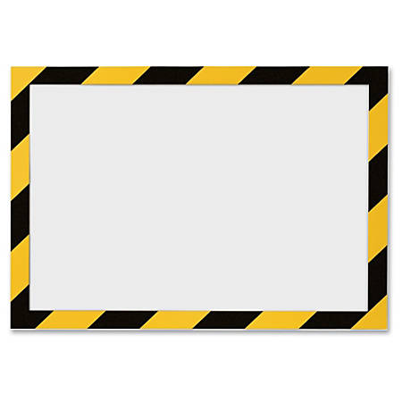 """DURABLE Twin-color Border Self Adhesive Security Frame - 2 / Pack - 8.50"""" Holding Width x 11"""" Holding Height - Square Shape - Self-adhesive, Flexible, Magnetic - Yellow, Black, Transparent"""