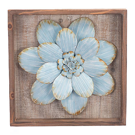 "Zuo Modern Star Succulent Wall Décor, 31 15/16"" x 31 15/16"", Distressed Light Blue"
