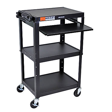 "H.Wilson Adjustable Steel Audio/Visual Presentation Cart With Keyboard/Laptop Shelf, 42""H x 24""W x 18""D, Black"